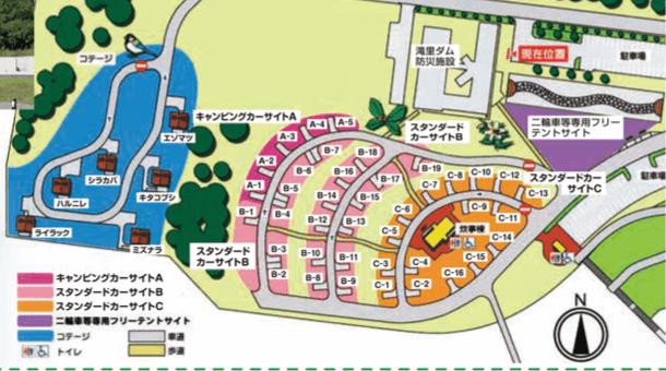 滝里湖オートキャンプ場 場内マップ