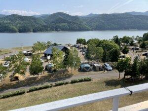 滝里湖オートキャンプ場眺め